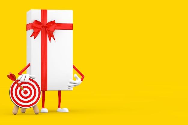 Witte geschenkdoos en rood lint karakter mascotte met boogschieten doel met dart in centrum op een gele achtergrond. 3d-rendering