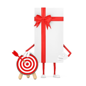 Witte geschenkdoos en rood lint karakter mascotte met boogschieten doel met dart in centrum op een witte achtergrond. 3d-rendering