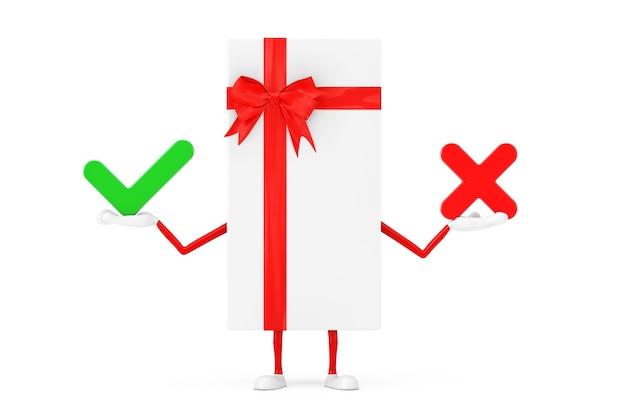 Witte geschenkdoos en rood lint karakter mascotte met met rood kruis en groen vinkje, bevestigen of ontkennen, ja of nee pictogram teken op een witte achtergrond. 3d-rendering