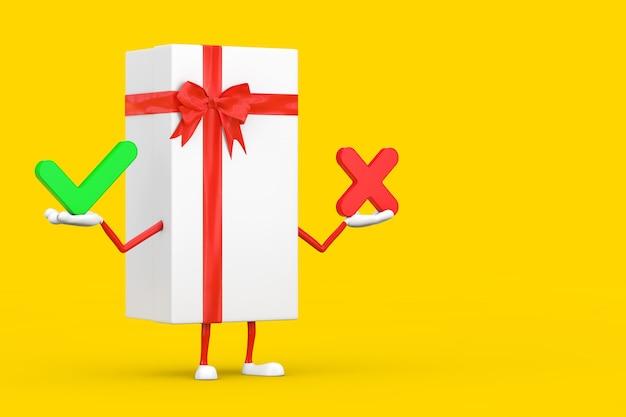 Witte geschenkdoos en rood lint karakter mascotte met met rood kruis en groen vinkje, bevestigen of weigeren, ja of nee pictogram teken op een gele achtergrond. 3d-rendering
