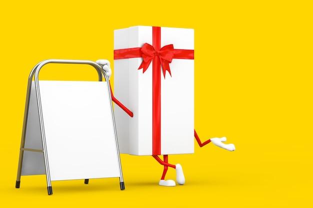 Witte geschenkdoos en rood lint karakter mascotte met witte lege reclame promotie staan op een gele achtergrond. 3d-rendering