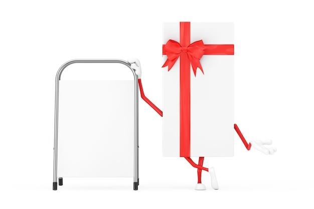 Witte geschenkdoos en rood lint karakter mascotte met witte lege reclame promotie staan op een witte achtergrond. 3d-rendering