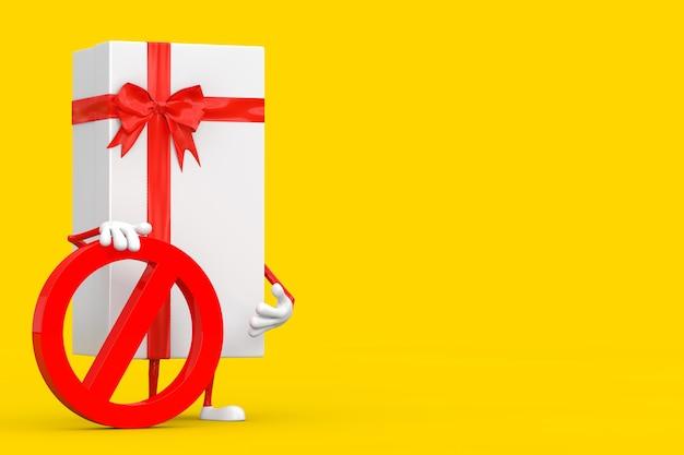 Witte geschenkdoos en rood lint persoon karakter mascotte met rood verbod of verboden teken op een gele achtergrond. 3d-rendering