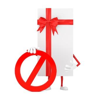 Witte geschenkdoos en rood lint persoon karakter mascotte met rood verbod of verboden teken op een witte achtergrond. 3d-rendering