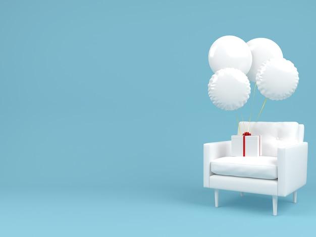 Witte geschenkdoos op stoel en witte ballon vliegen in lucht concept pastel minimale achtergrond