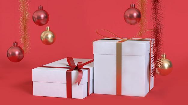 Witte geschenkdoos van abstracte kerstmis achtergrond 3d-rendering metalen rood gouden bal