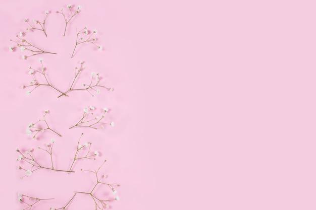 Witte gipskruid op een roze pastelkleurig bureau