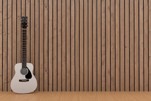Witte gitaar in het houten ontwerp van de plankruimte in het 3d teruggeven