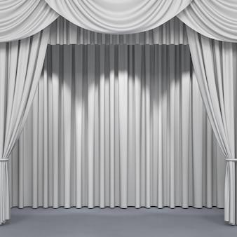 Witte gordijnen op een podium achtergrond