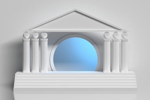 Witte griekse kolomarcade en cirkelvormige blauwe tunnel
