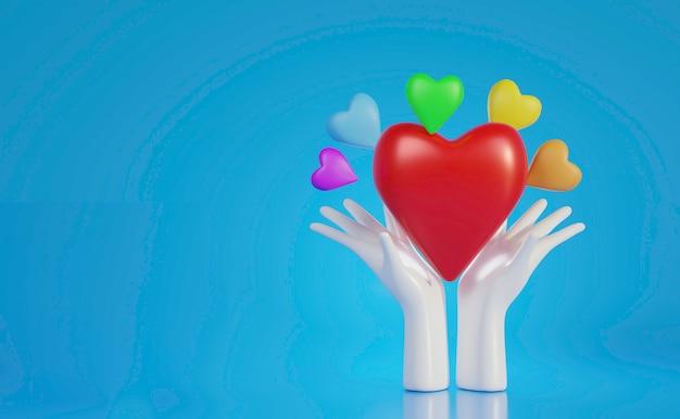 Witte handen met groot rood hart met kleurrijk hart, wereldhartdag