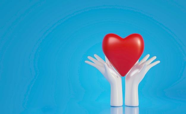 Witte handen met groot rood hart, wereldhartdag