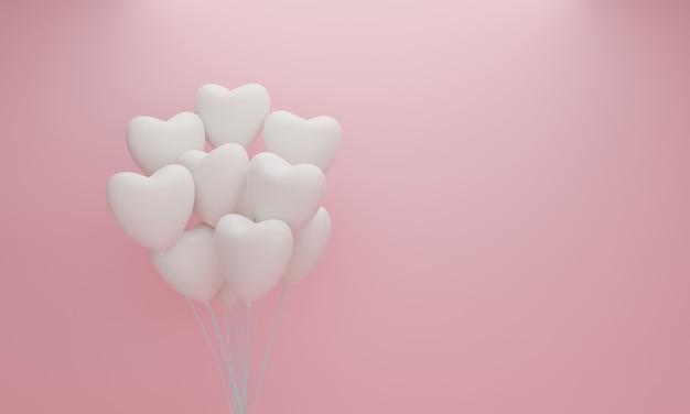Witte hartballon op roze pastel achtergrond. valentijn concept. 3d-weergave