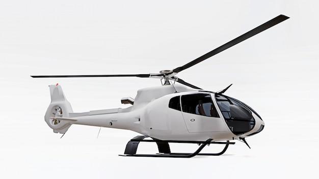Witte helikopter die op de witte achtergrond wordt geïsoleerd. 3d-weergave
