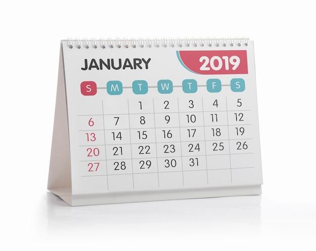 Witte het bureaukalender 2019 van januari isoleerde op wit