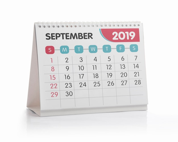 Witte het bureaukalender 2019 van september die op wit wordt geïsoleerd