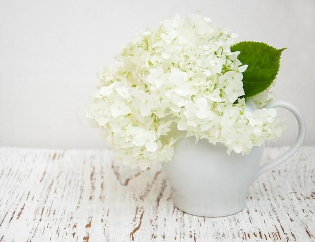 Witte hortensia in een vaas