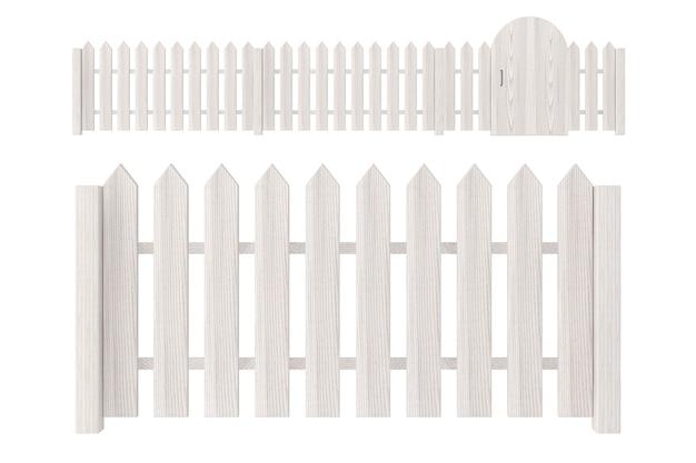 Witte houten omheining op een witte achtergrond