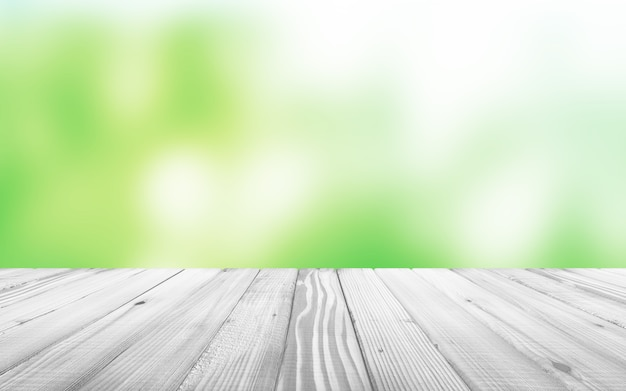 Witte houten tafel met wazig achtergrondkleur achter. 3d-weergave