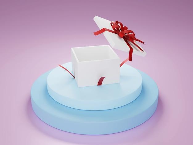 Witte huidige doos met rood lint op zachte blauwe podium 3d illustratie rendering