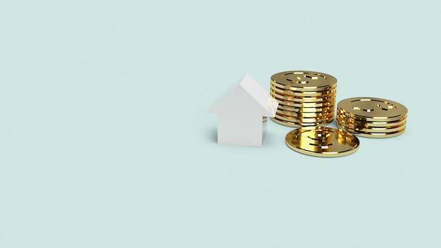 Witte huis en gouden munten voor onroerend goed
