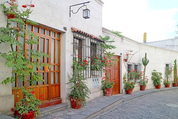 Witte huizen en planten in potten in een stadsstraat in peru