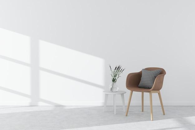 Witte interieur betonnen vloer met fauteuil, bijzettafel, vaas en zonlicht. scandinaviestijl