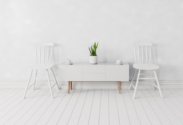 Witte interieur kamer met stoelen en koffiekopje op witte houten tafel