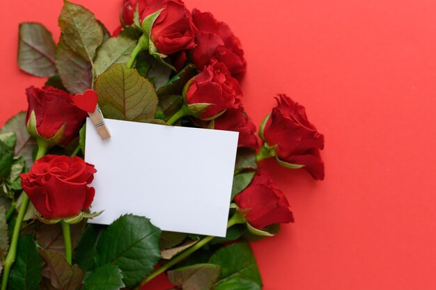 Witte kaart met een plek voor tekst tegen de achtergrond van rode rozen, een ansichtkaart valentijnsdag