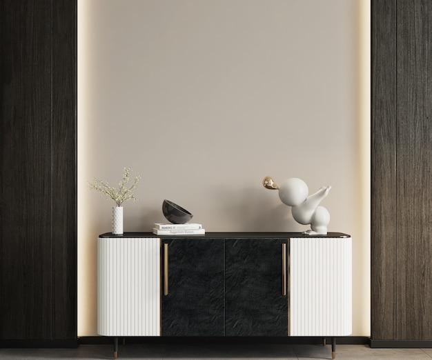 Witte kamer met een dressoir en een muur, muurmodel, kadermodel