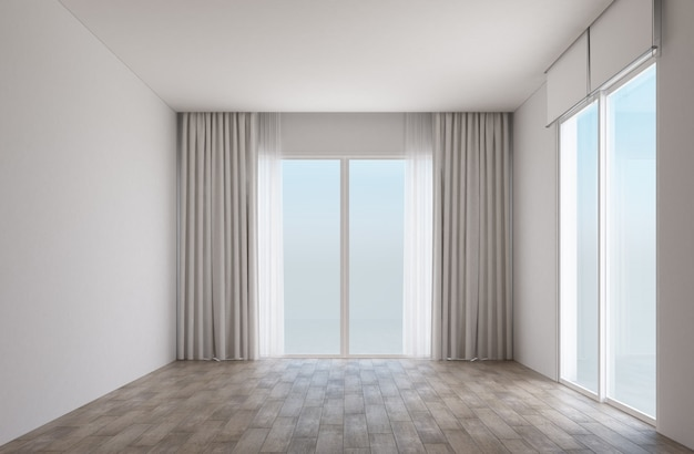 Witte kamer met houten vloer en schuifdeuren met gordijnen
