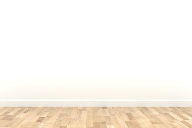 Witte kamer met houten vloer in 3d-rendering
