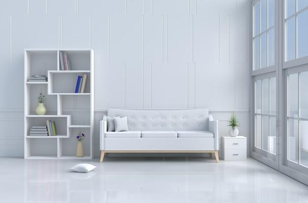 Witte kamerinrichting met witte sofa, kussens, boekenkast, vaas, boek, bloem, cementmuur. 3d render