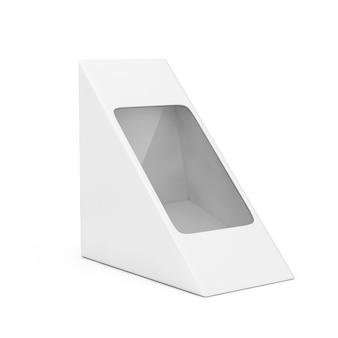 Witte kartonnen driehoek pack pox voor voedsel, cadeau of andere producten met lege ruimte voor uw ontwerp op een witte achtergrond. 3d-rendering