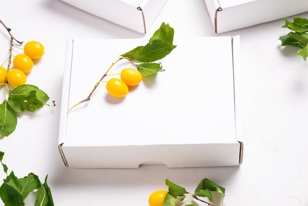 Witte kartonnen kartonnen doos met frisse groene bladeren
