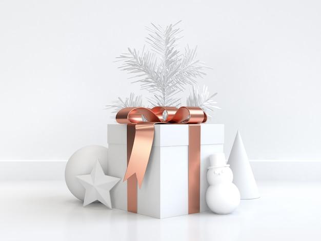 Witte kerst 3d-rendering