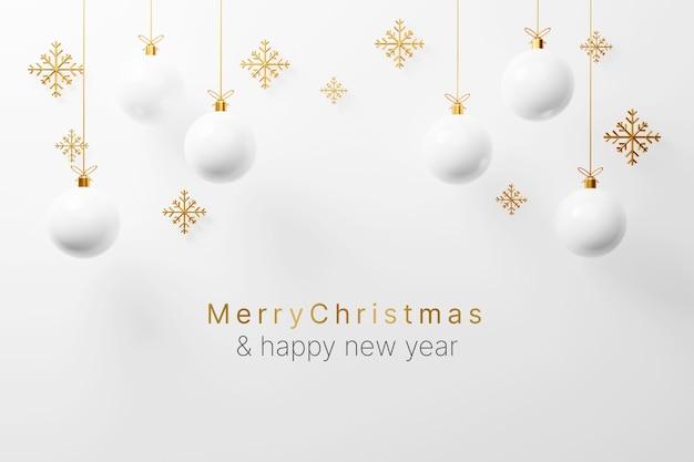 Witte kerstbal bauble decoratie opknoping met lege ruimte 3d-rendering