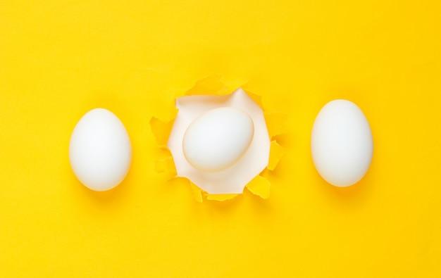 Witte kippeneieren door het gescheurde gat van geel papier. minimalisme concept