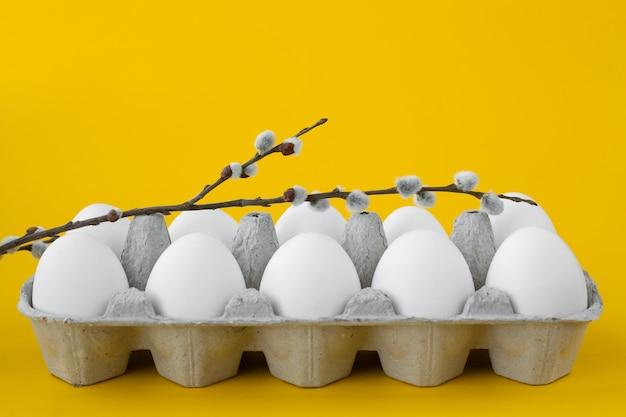 Witte kippeneieren in een open kartonnen doos met een wilgentakje erop