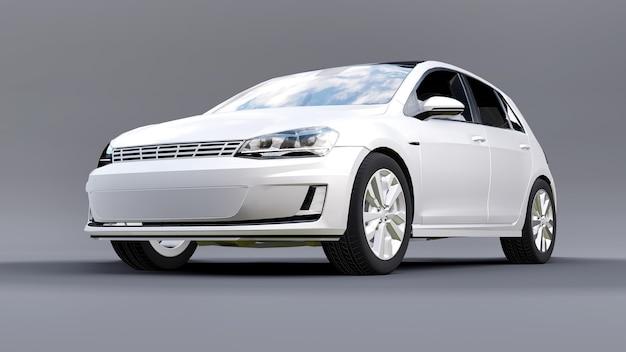 Witte kleine gezinsauto hatchback op grijze achtergrond. 3d-rendering.