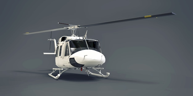 Witte kleine militaire transporthelikopter op grijze geïsoleerde achtergrond. de helikopter reddingsdienst. luchttaxi. helikopter voor politie, brandweer, ambulance en reddingsdiensten. 3d illustratie