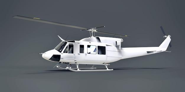 Witte kleine militaire transporthelikopter op grijze geïsoleerde achtergrond. de reddingsdienst van de helikopter. luchttaxi. helikopter voor politie, brandweer, ambulance en reddingsdienst. 3d illustratie.
