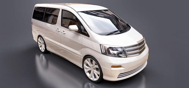 Witte kleine minibus voor het vervoer van mensen. 3d-weergave