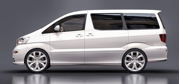 Witte kleine minibus voor het vervoer van mensen driedimensionaal op glanzend grijs