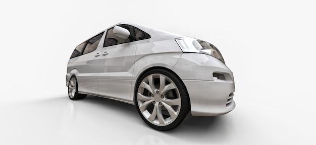 Witte kleine minibus voor het vervoer van mensen. driedimensionale afbeelding op een glanzend witte achtergrond. 3d-weergave.