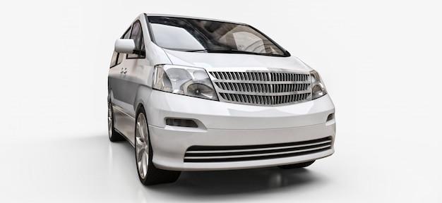Witte kleine minibus voor het vervoer van mensen. driedimensionale illustratie op een glanzende witte achtergrond