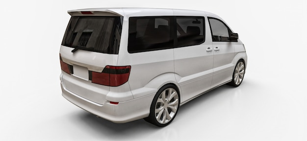 Witte kleine minibus voor het vervoer van mensen