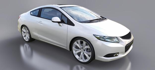 Witte kleine sportwagencoupé. 3d-rendering.