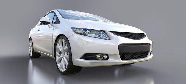 Witte kleine sportwagencoupé. 3d-rendering. Premium Foto