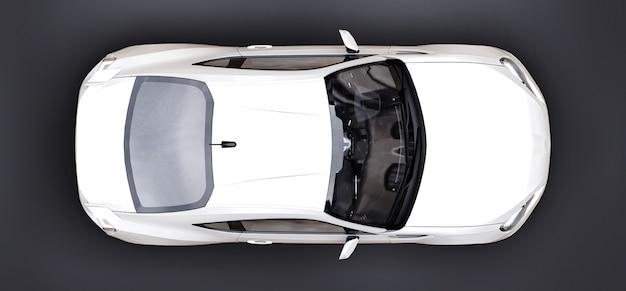 Witte kleine sportwagencoupé. 3d-weergave